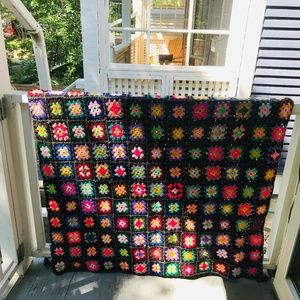 vintage granny square crochet afghan blanket throw